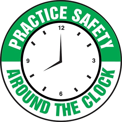 ACCUFORM SIGNS® Hard Hat/Helmet Decal, PRACTICE SAFETY AROUND THE CLOCK, 2¼, Adhesive Vinyl, 10/Pk