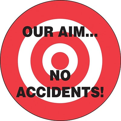 ACCUFORM SIGNS® Hard Hat/Helmet Decal, OUR AIM...NO ACCIDENTS!, 2¼, Adhesive Vinyl, 10/Pk