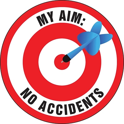 ACCUFORM SIGNS® Hard Hat/Helmet Decal, MY AIM: NO ACCIDENTS, 2¼, Adhesive Vinyl, 10/Pk