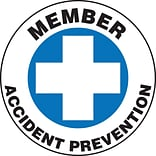 ACCUFORM SIGNS® Hard Hat/Helmet Decal, MEMBER ACCIDENT PREVENTION, 2¼, Adhesive Vinyl, 10/Pk