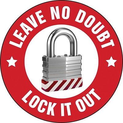 ACCUFORM SIGNS® Hard Hat/Helmet Decal, LEAVE NO DOUBT LOCK IT OUT, 2¼, Adhesive Vinyl, 10/Pk