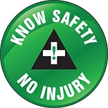 ACCUFORM SIGNS® Hard Hat/Helmet Decal, KNOW SAFETY NO INJURY, 2¼, Adhesive Vinyl, 10/Pk