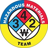 ACCUFORM SIGNS® Hard Hat/Helmet Decal, HAZARDOUS MATERIALS TEAM, 2¼, Adhesive Vinyl, 10/Pk
