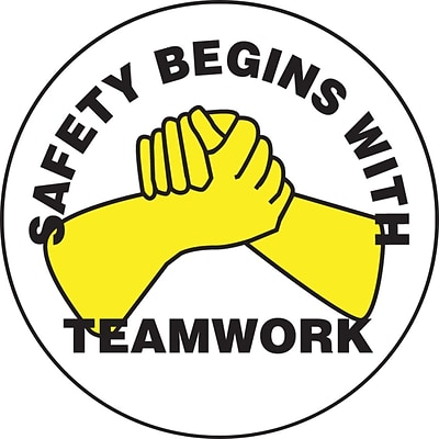 ACCUFORM SIGNS® Hard Hat/Helmet Decal, SAFETY BEGINS WITH TEAMWORK, 2¼, Adhesive Vinyl, 10/Pk