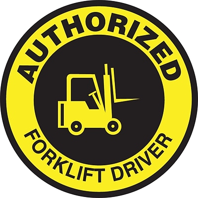 ACCUFORM SIGNS® Hard Hat/Helmet Decal, AUTHORIZED FORKLIFT DRIVER, 2¼, Adhesive Vinyl, 10/Pk