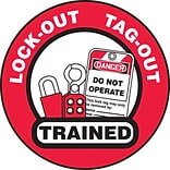 ACCUFORM SIGNS® Hard Hat/Helmet Decal, LOCK-OUT TAG-OUT TRAINED, 2¼, Adhesive Vinyl, 10/Pk