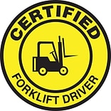 ACCUFORM SIGNS® Hard Hat/Helmet Decal, CERTIFIED FORKLIFT DRIVER, 2¼, Adhesive Vinyl, 10/Pk