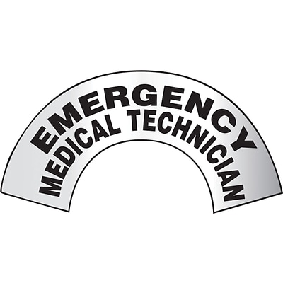 ACCUFORM SIGNS® ER Reflective Helmet Sticker; EMERGENCY MEDICAL TECHNICIAN, 3x6-7/8 Adhesive Vinyl