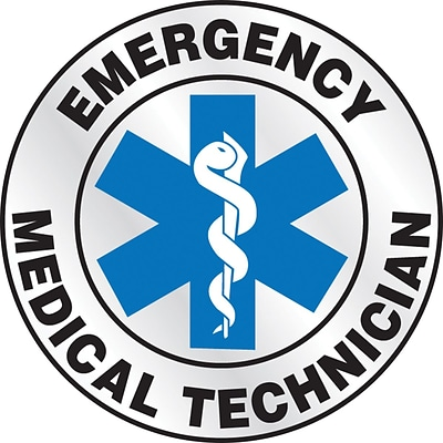 ACCUFORM SIGNS® ER Reflective Helmet Sticker, EMERGENCY MEDICAL TECHNICIAN, 2¼, Adhesive Vinyl