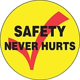 ACCUFORM SIGNS® Hard Hat/Helmet Decal, SAFETY NEVER HURTS, 2¼, Adhesive Vinyl, 10/Pk