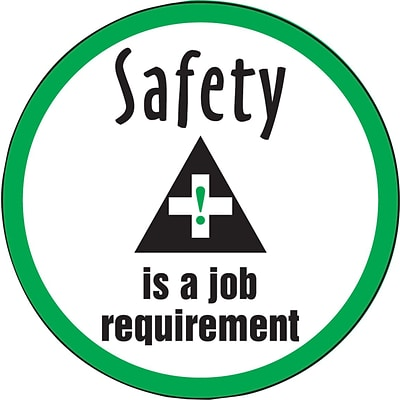 ACCUFORM SIGNS® Hard Hat/Helmet Decal, SAFETY IS A JOB REQUIREMENT, 2¼, Adhesive Vinyl, 10/Pk