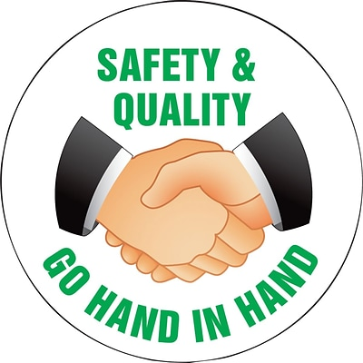 ACCUFORM SIGNS® Hard Hat/Helmet Decal, SAFETY & QUALITY GO HAND IN HAND, 2¼, Adhesive Vinyl, 10/Pk