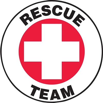 ACCUFORM SIGNS® Hard Hat/Helmet Decal, RESCUE TEAM, 2¼, Adhesive Vinyl, 10/Pk
