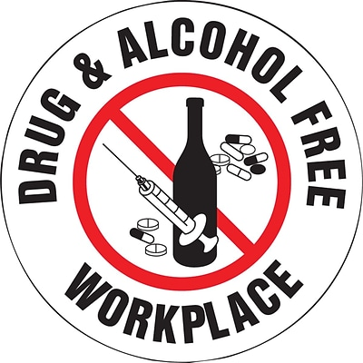 ACCUFORM SIGNS® Hard Hat/Helmet Decal, DRUG & ALCOHOL FREE WORKPLACE, 2¼, Adhesive Vinyl, 10/Pk