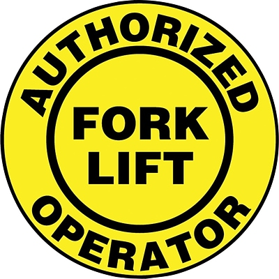 ACCUFORM SIGNS® Hard Hat/Helmet Decal, AUTHORIZED FORK LIFT OPERATOR, 2¼, Adhesive Vinyl, 10/Pk