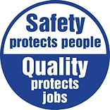 ACCUFORM SIGNS® Hard Hat/Helmet Decal, SAFETY PROTECTS PEOPLE QUALITY PROTECTS JOB, 2¼ Vinyl, 10/Pk