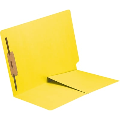 Medical Arts Press® 11 pt. Colored End-Tab Pocket Folders; 1 Fastener, Yellow, 250/Box
