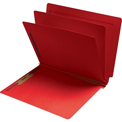 Medical Arts Press® Classification Colored End-Tab Folders; 2 Dividers, Red, 15/Box