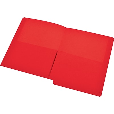 Medical Arts Press® End-Tab Folders with Twin 1/2 Pockets; No Fasteners, Red, 50/Box