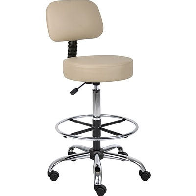 Boss® CareSoft Medical/Drafting Stool with Back Cushion; Beige