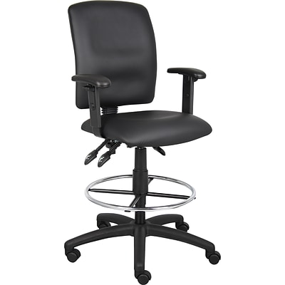Boss® Multi-Function LeatherPlus Drafting Stool with Adjustable Arms