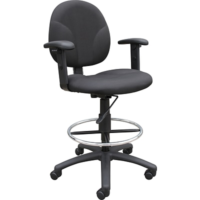 Boss® Fabric Drafting Stool with Adjustable Arms & Footring; Black