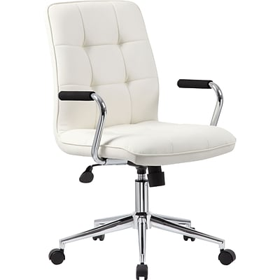 Modern Office Chair w/Chrome Arms- White