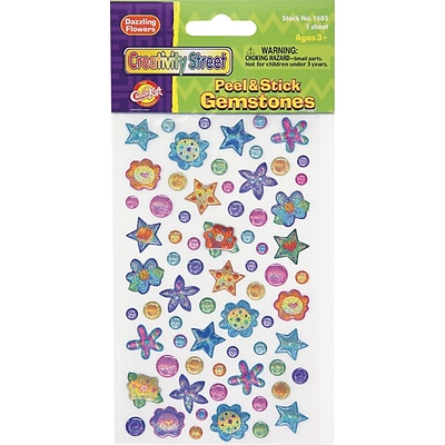 Chenille Kraft Peel & Stick Gemstones, Bright Flowers, 81 Pieces, Assorted, 486/Set