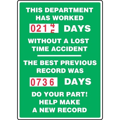 ACCUFORM SIGNS® Turn-A-Day Scoreboard, THIS DEPT. HAS WORKED # DAYS W/OUT ACCIDENT, 36x24, Plastic (MSCBDD12)