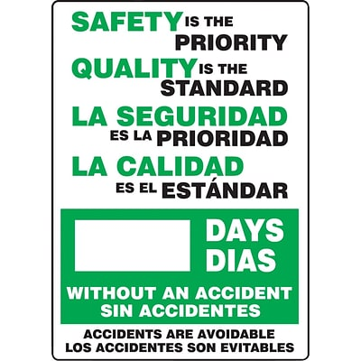 ACCUFORM SIGNS® Bilingual Write-A-Day; SAFETY PRIORITY, QUALITY IS STANDARD # DAYS, 28x20 Aluminum