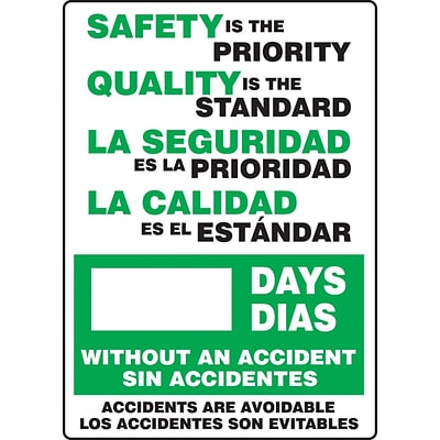 ACCUFORM SIGNS® Bilingual Write-A-Day; SAFETY IS PRIORITY, QUALITY STANDARD # DAYS, 20x14 Plastic
