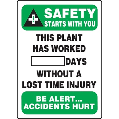 ACCUFORM SIGNS® Write-A-Day; SAFETY STARTS W/YOU PLANT WORKED # DAYS W/OUT INJURY, 20x14, Plastic