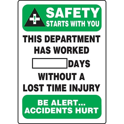 ACCUFORM SIGNS® Write-A-Day SAFETY STARTS W/YOU DEPT. WORKED # DAYS W/OUT INJURY; 20x14, Aluminum