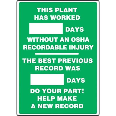ACCUFORM SIGNS® Write-A-Day; PLANT WORKED # DAYS W/OUT OSHA RECORDABLE INJURY, 20x14, Plastic