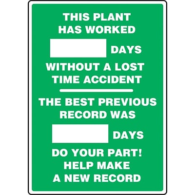 ACCUFORM SIGNS® Write-A-Day Scoreboard, PLANT WORKED # DAYS W/OUT LOST TIME ACCIDENT 28x20 Plastic (MSR246PL)