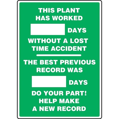 ACCUFORM SIGNS® Write-A-Day Scoreboard, PLANT WORKED # DAYS W/OUT LOST TIME ACCIDENT 20x14 Plastic (MSR126PL)