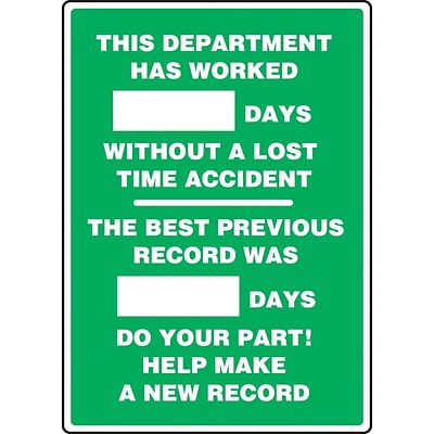 ACCUFORM SIGNS® Write-A-Day Scoreboard, DEPT WORKED # DAYS W/OUT LOST TIME ACCIDENT, 28x20 Plastic (MSR244PL)
