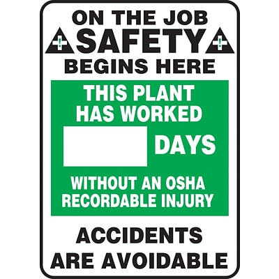 ACCUFORM SIGNS® Write-A-Day, PLANT WORKED # DAYS W/OUT OSHA RECORDABLE INJURY, 28x20, Plastic (MSR247PL)
