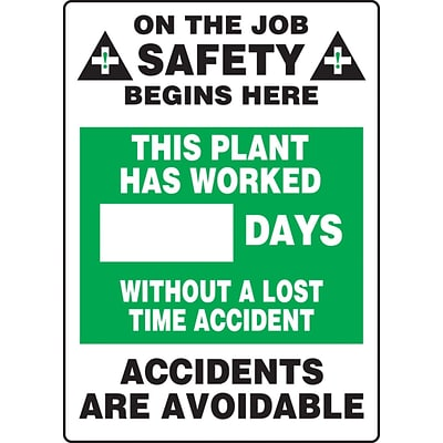 ACCUFORM SIGNS® Write-A-Day Scoreboard, PLANT WORK # DAYS W/OUT LOST TIME ACCIDENT 28x20 Aluminum (MSR243AL)