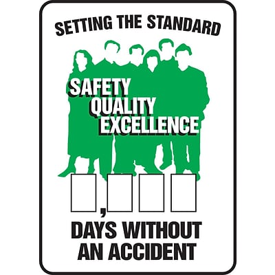 ACCUFORM SIGNS® Write-A-Day; STAND. SAFETY QUALITY EXCELLENCE # Days W/OUT ACCIDENT 20x14 Aluminum