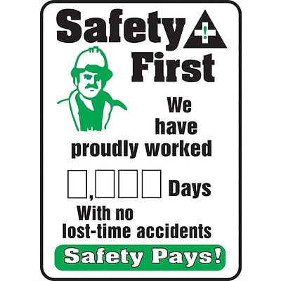 ACCUFORM SIGNS® Write-A-Day Scoreboard; SAFETY FIRST- WORKED # DAYS NO ACCIDENTS, 28x20, Plastic