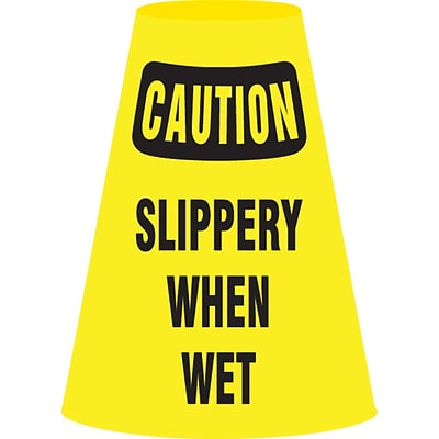 ACCUFORM SIGNS® Traffic Cone Cuff™ Sleeve, CAUTION SLIPPERY WHEN WET, Reinforced Vinyl, 6/Pk