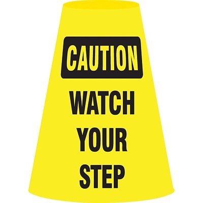ACCUFORM SIGNS® Traffic Cone Cuff™ Sleeve, CAUTION WATCH YOUR STEP, Reinforced Vinyl, Each