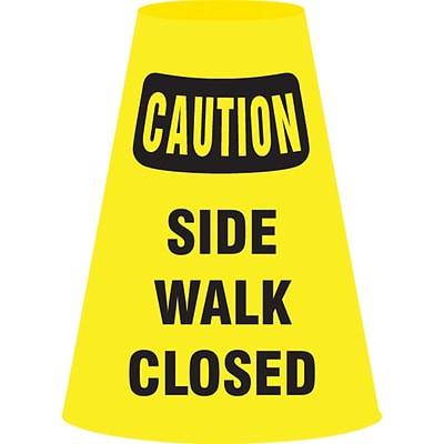 ACCUFORM SIGNS® Traffic Cone Cuff™ Sleeve, CAUTION SIDE WALK CLOSED, Reinforced Vinyl, Each