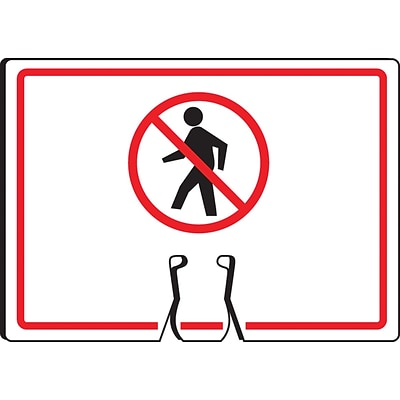ACCUFORM SIGNS® Traffic Cone Top Warning Sign, (NO PEDESTRIANS SYMBOL), 10 x 14, Plastic, Each