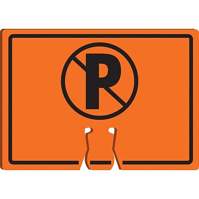 ACCUFORM SIGNS® Traffic Cone Top Warning Sign, (NO PARKING SYMBOL), 10 x 14, Plastic, Each
