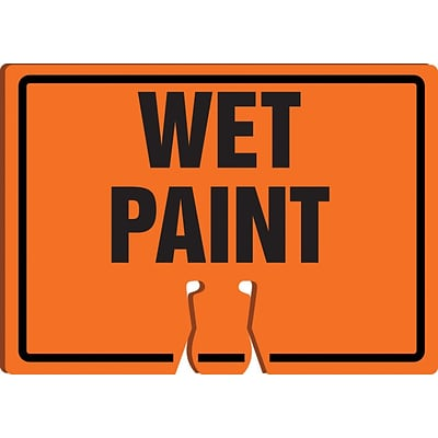 ACCUFORM SIGNS® Traffic Cone Top Warning Sign, WET PAINT, 10 x 14, Plastic, Each