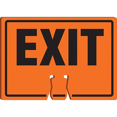 ACCUFORM SIGNS® Traffic Cone Top Warning Sign, EXIT, 10 x 14, Plastic, Each