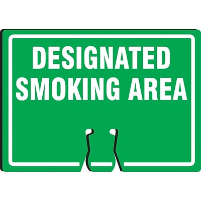 ACCUFORM SIGNS® Traffic Cone Top Warning Sign, DESIGNATED SMOKING AREA, 10 x 14, Plastic, Each
