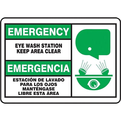 Accuform Signs® EMER EYEWASH STN Adhesive Vinyl Safety Sign, 7 x 10